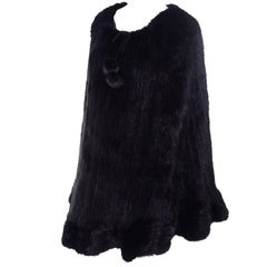 Black Mink Knit Fur Poncho Cape With Pom Poms