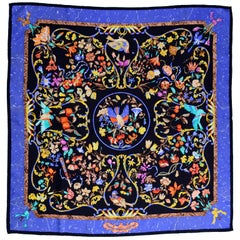 Blue Silk Hermes Scarf Pierres d'Orient et d'Occident by Zoé Pauwels w/ Birds
