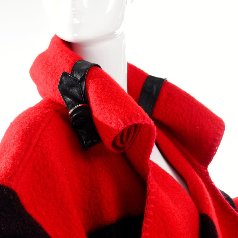 Jean Charles de Castelbajac 1980s Red & Black Wool Coat w/ Leather Trim & Hood In Excellent Condition For Sale In Portland, OR