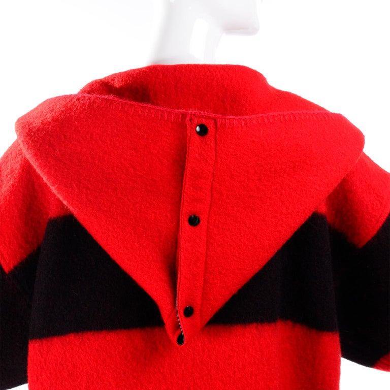 Women's Jean Charles de Castelbajac 1980s Red & Black Wool Coat w/ Leather Trim & Hood For Sale