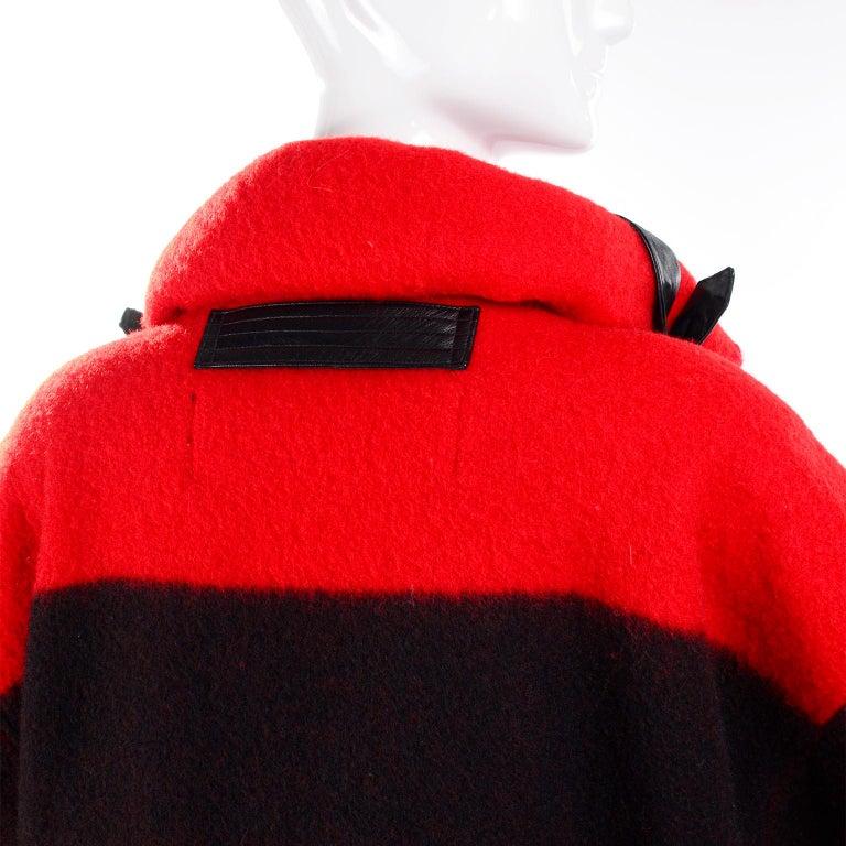 Jean Charles de Castelbajac 1980s Red & Black Wool Coat w/ Leather Trim & Hood For Sale 1