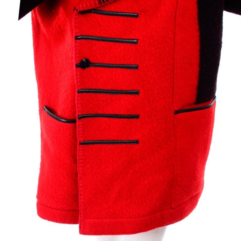 Jean Charles de Castelbajac 1980s Red & Black Wool Coat w/ Leather Trim & Hood For Sale 2