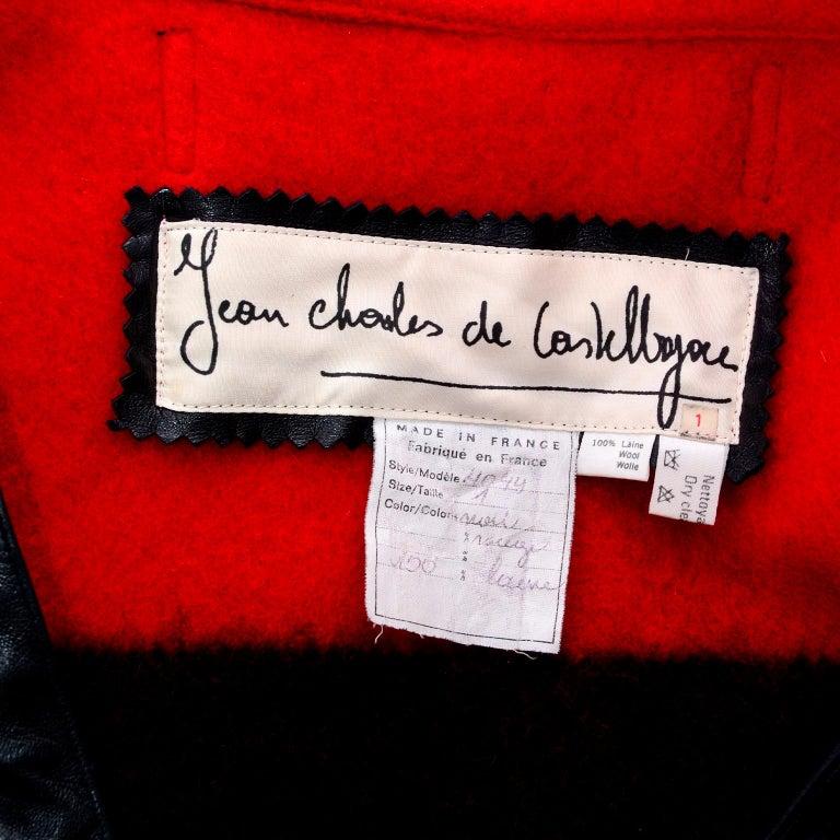 Jean Charles de Castelbajac 1980s Red & Black Wool Coat w/ Leather Trim & Hood For Sale 12