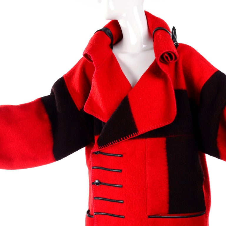 Jean Charles de Castelbajac 1980s Red & Black Wool Coat w/ Leather Trim & Hood For Sale 3