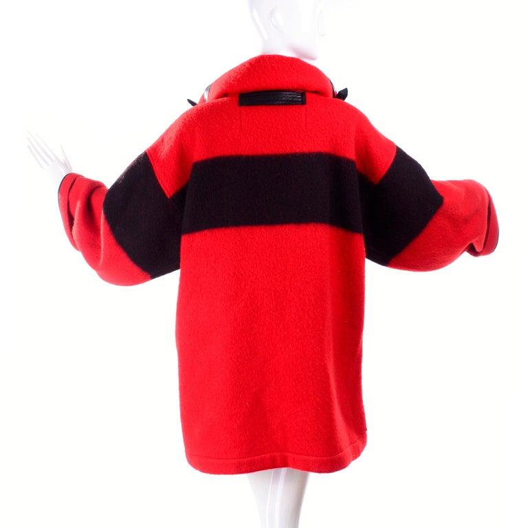 Jean Charles de Castelbajac 1980s Red & Black Wool Coat w/ Leather Trim & Hood For Sale 4
