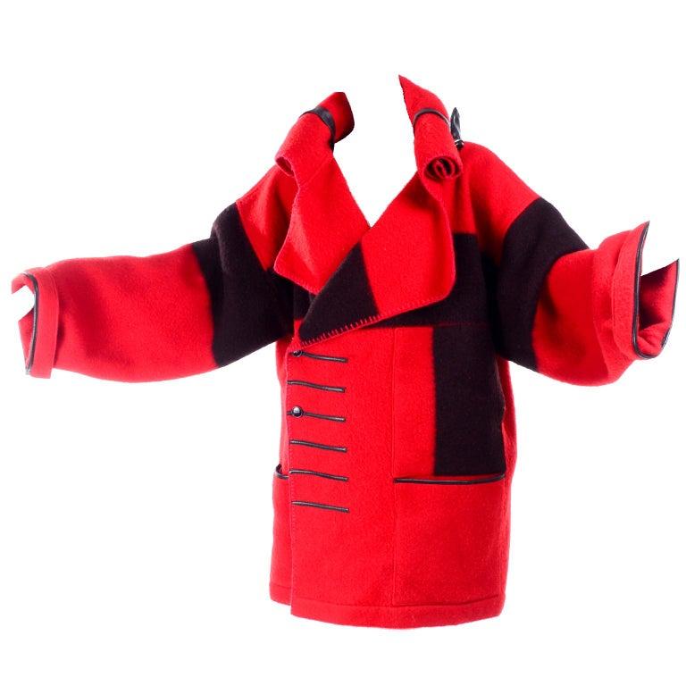 Jean Charles de Castelbajac 1980s Red & Black Wool Coat w/ Leather Trim & Hood For Sale 13