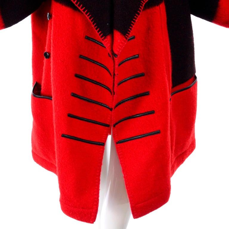 Jean Charles de Castelbajac 1980s Red & Black Wool Coat w/ Leather Trim & Hood For Sale 5