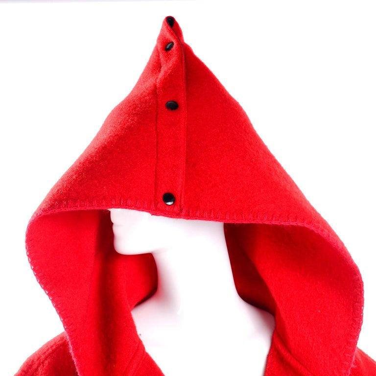 Jean Charles de Castelbajac 1980s Red & Black Wool Coat w/ Leather Trim & Hood For Sale 6