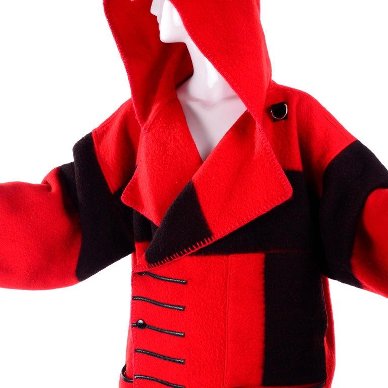 Jean Charles de Castelbajac 1980s Red & Black Wool Coat w/ Leather Trim & Hood For Sale 7