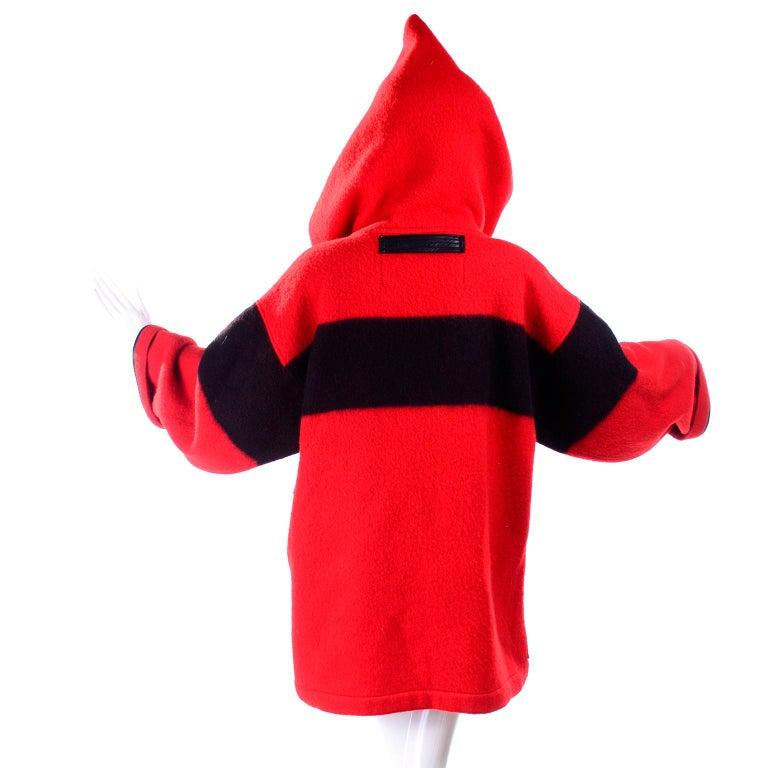 Jean Charles de Castelbajac 1980s Red & Black Wool Coat w/ Leather Trim & Hood For Sale 9