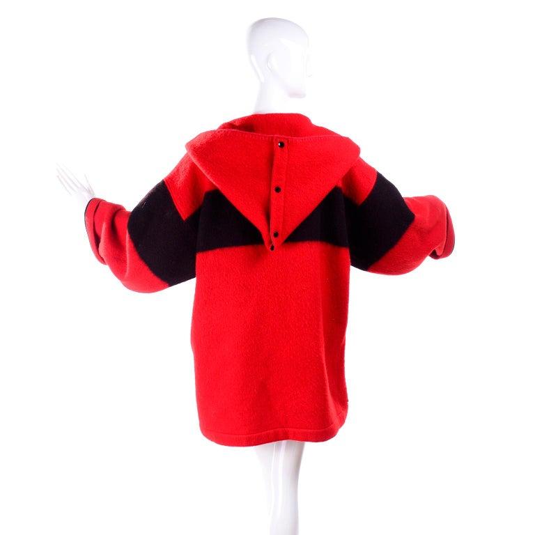 Jean Charles de Castelbajac 1980s Red & Black Wool Coat w/ Leather Trim & Hood For Sale 10