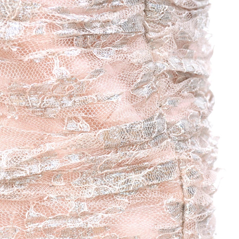New Vicky Tiel Dress Pink Silver Metallic Lace Strapless Evening Gown w/ Tags 2 For Sale 3