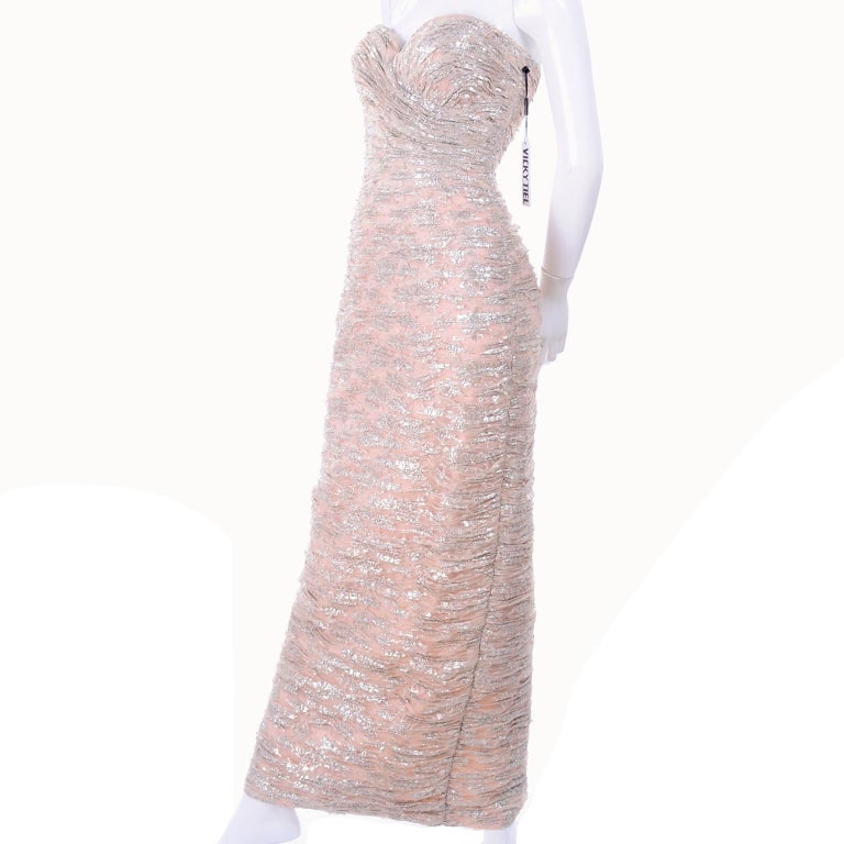 New Vicky Tiel Dress Pink Silver Metallic Lace Strapless Evening Gown w/ Tags 2 In New Condition For Sale In Portland, OR