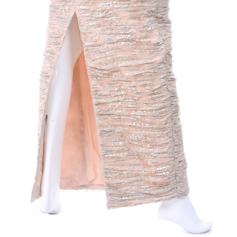 New Vicky Tiel Dress Pink Silver Metallic Lace Strapless Evening Gown w/ Tags 2 For Sale 1