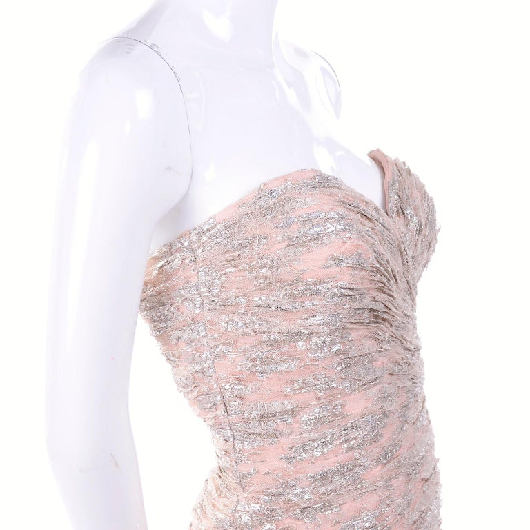 Beige New Vicky Tiel Dress Pink Silver Metallic Lace Strapless Evening Gown w/ Tags 2 For Sale