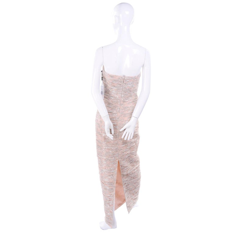 New Vicky Tiel Dress Pink Silver Metallic Lace Strapless Evening Gown w/ Tags 2 For Sale 6