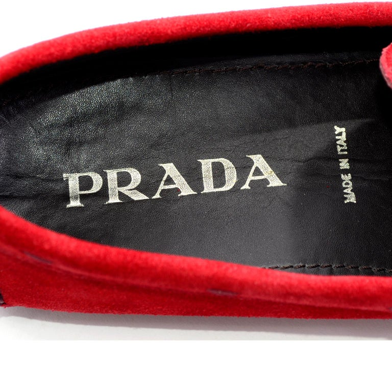 9ece1fff2fe Unworn New Prada Red Suede Shoes Loafers Size 37.5 With Silver Ring Buckle  For Sale 5