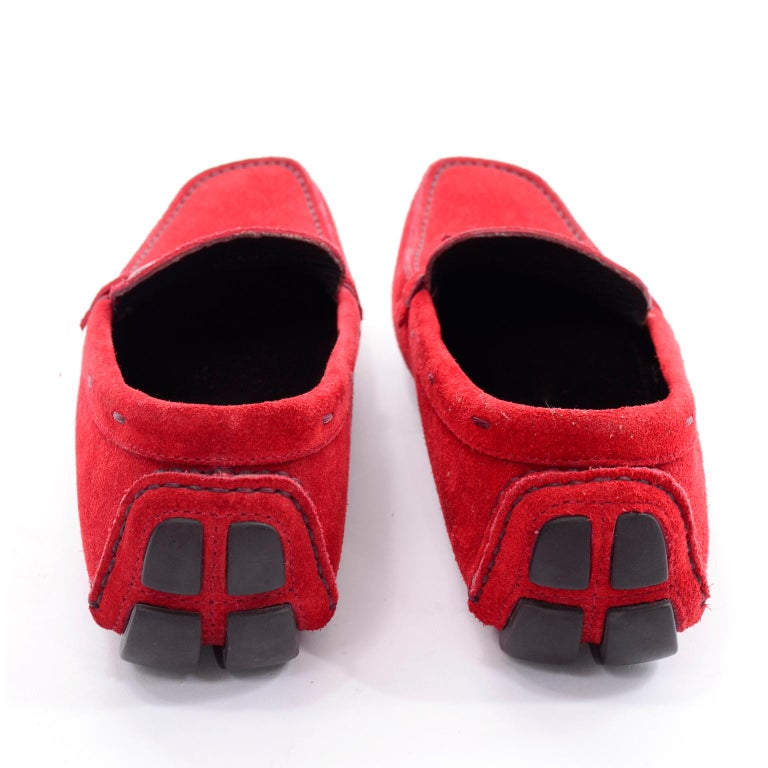 c6f13ded8cb Unworn New Prada Red Suede Shoes Loafers Size 37.5 With Silver Ring Buckle  For Sale 2