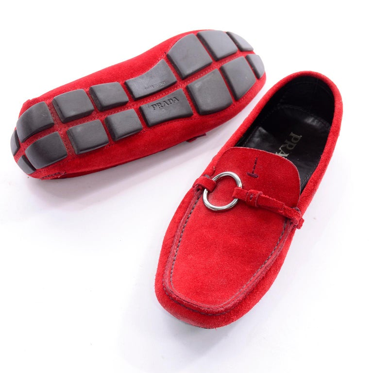 e9ceba6f34f Unworn New Prada Red Suede Shoes Loafers Size 37.5 With Silver Ring Buckle  For Sale 3
