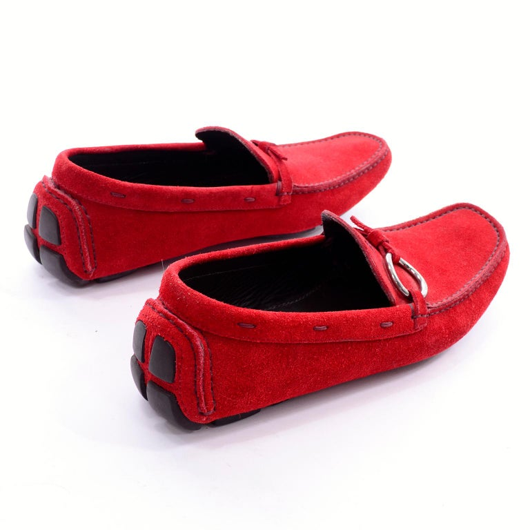 510032d7894 Unworn New Prada Red Suede Shoes Loafers Size 37.5 With Silver Ring Buckle  For Sale 1