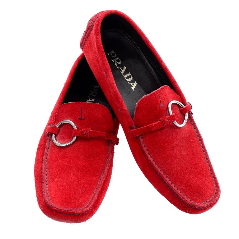 Unworn New Prada Red Suede Shoes Loafers Size 37.5 With Silver Ring Buckle