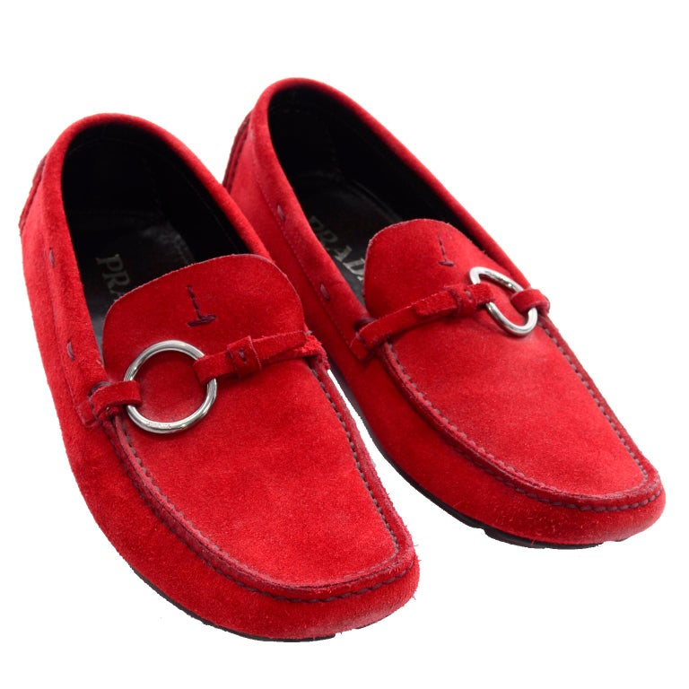 5ce0f1b7d88 Unworn New Prada Red Suede Shoes Loafers Size 37.5 With Silver Ring Buckle  In New Condition