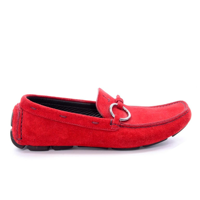 e65ca1221e0 Unworn New Prada Red Suede Shoes Loafers Size 37.5 With Silver Ring Buckle  For Sale 6