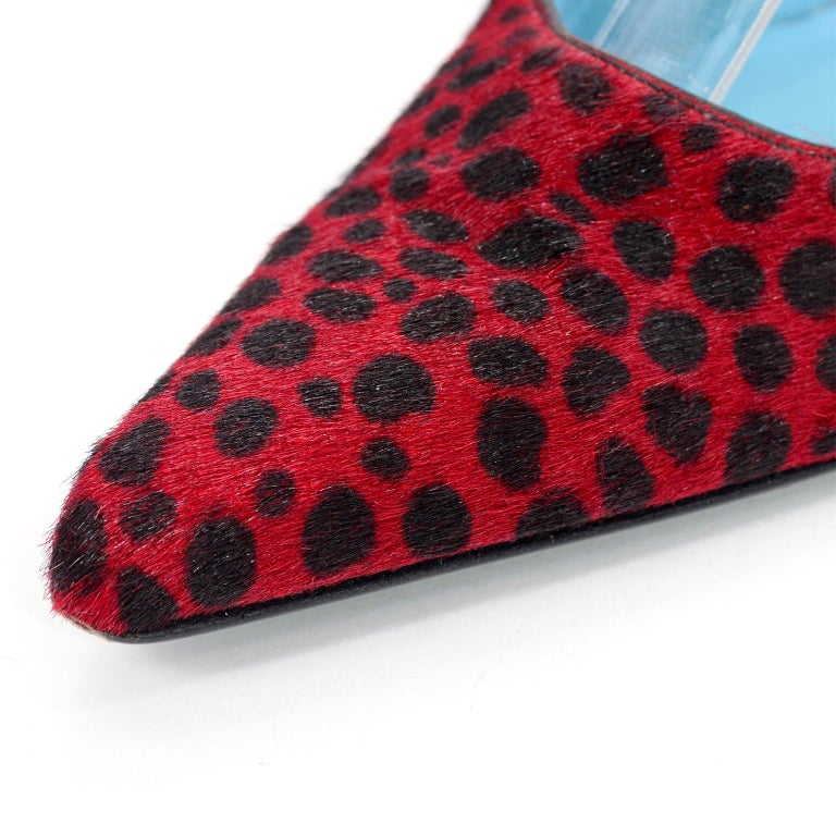 Women's Dolce & Gabbana Animal Print Shoes in Red & Black Fur Slingback Heels For Sale