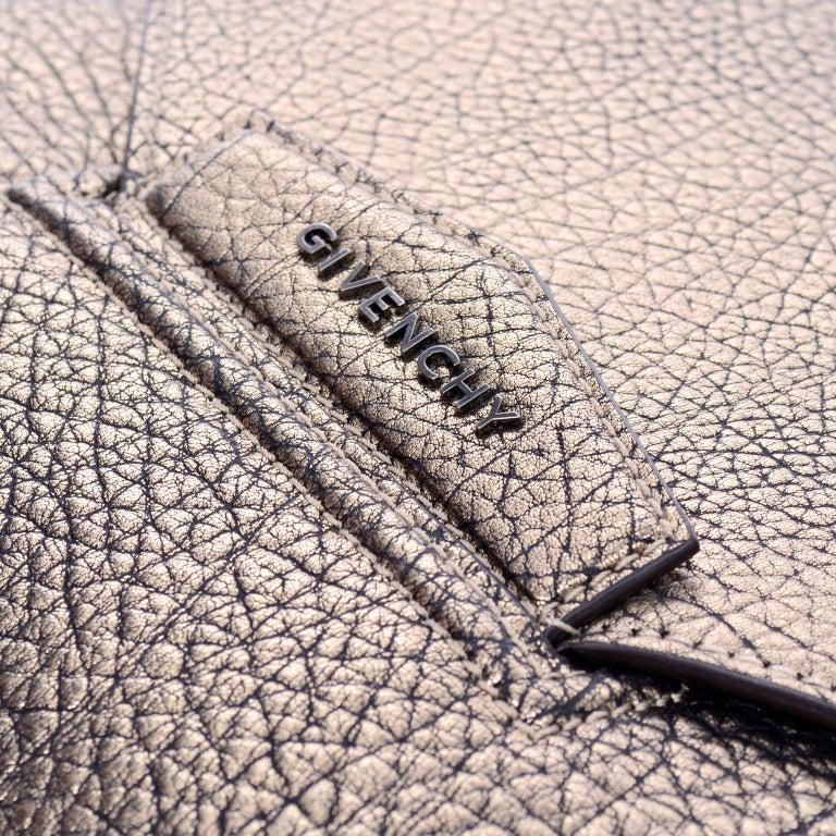 Beige Givenchy Envelope Clutch Medium Antigona Goat Leather Handbag in Bronze Metallic For Sale