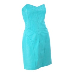 Vintage Strapless Turquoise Blue Green Leather 1980s Dress in Size 4/6