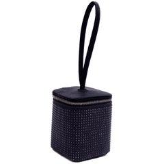 Gucci Handbag Black Satin Evening Bag With Black Crystals and Mirror