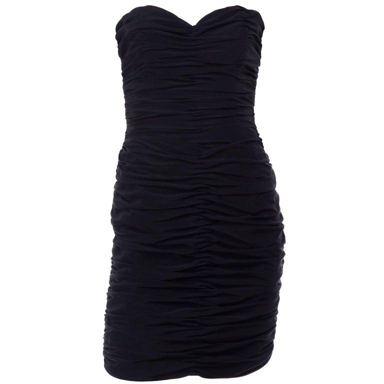 1980s Azzaro Boutique Vintage Black Strapless Bodycon Dress Size 2 For Sale