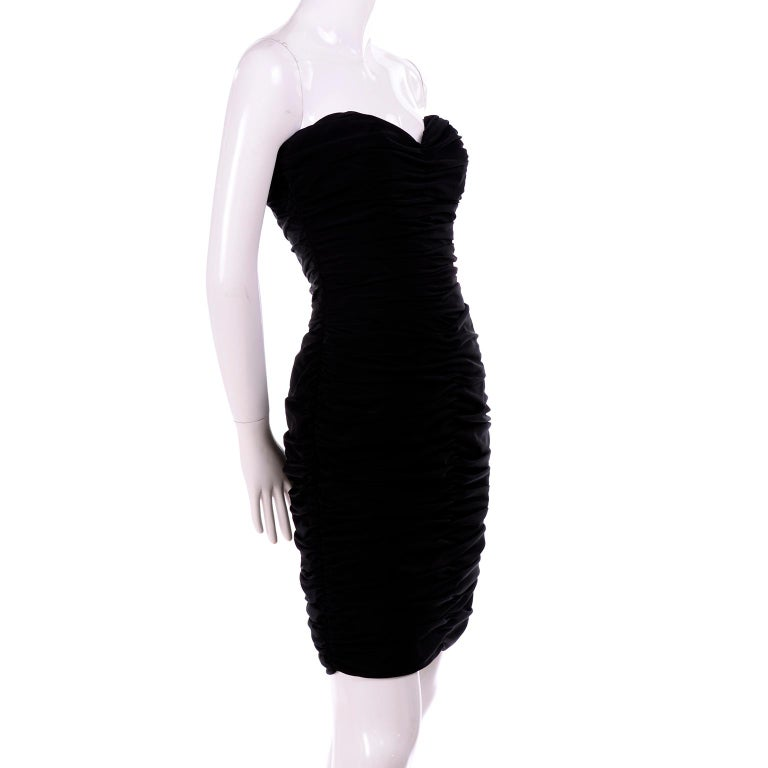 1980s Azzaro Boutique Vintage Black Strapless Bodycon Dress Size 2 In Good Condition For Sale In Portland, OR