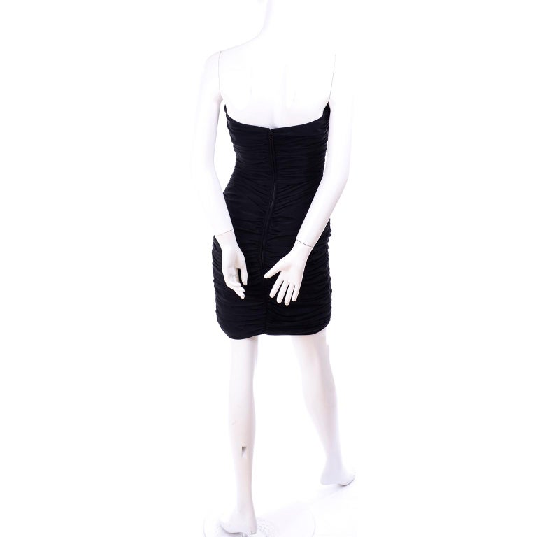 1980s Azzaro Boutique Vintage Black Strapless Bodycon Dress Size 2 For Sale 2