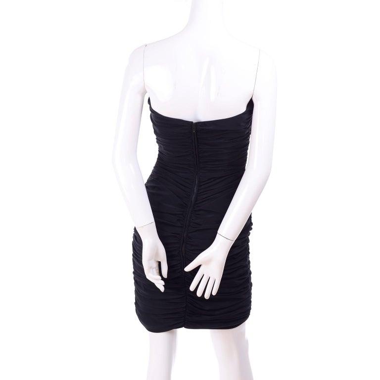 1980s Azzaro Boutique Vintage Black Strapless Bodycon Dress Size 2 For Sale 3