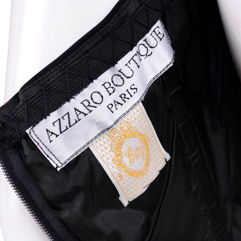1980s Azzaro Boutique Vintage Black Strapless Bodycon Dress Size 2 For Sale 4