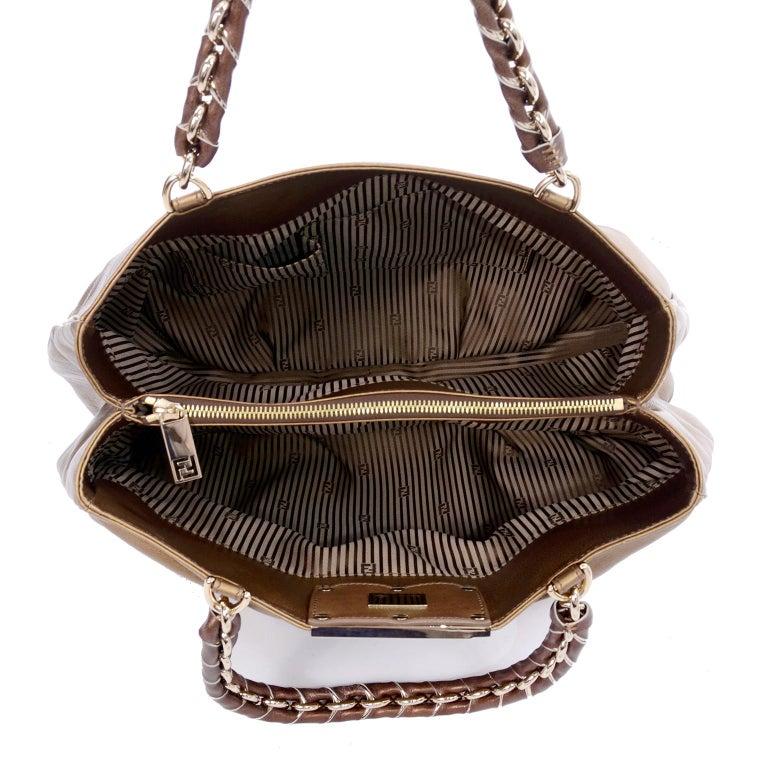 dd2b42a4dcda Fendi Bag in Bronze Leather Borsa Mia Handbag w  Shoulder Strap   Original  Card For