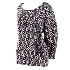 YSL Yves Saint Laurent Runway Sweater in Black and White Wool Tweed