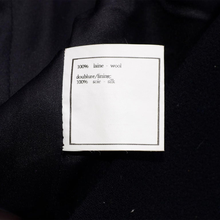 Chanel Jacket and Skirt Suit in Black Wool With Silk Lining Cruise Resort 1998 For Sale 9