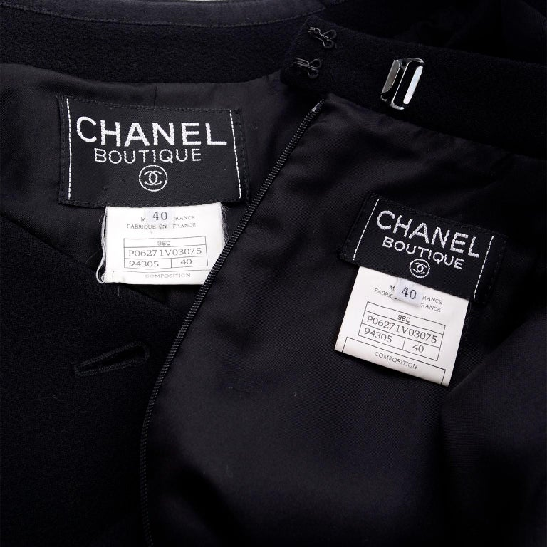 Chanel Jacket and Skirt Suit in Black Wool With Silk Lining Cruise Resort 1998 For Sale 10
