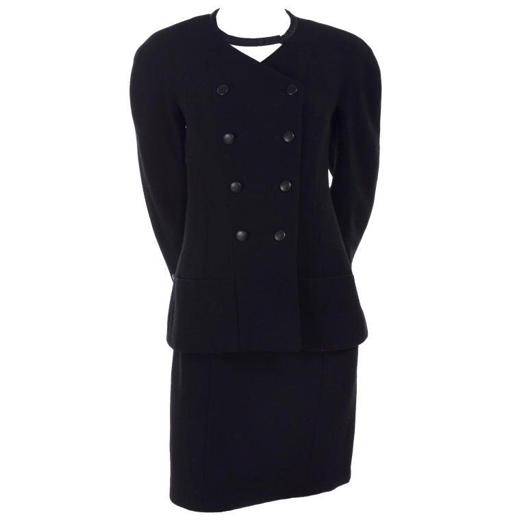 c2976425e209 Chanel Jacke und Rock Kostüm aus Schwarzer Wolle mit Seiden Futter Cruise  Resort 1998 1