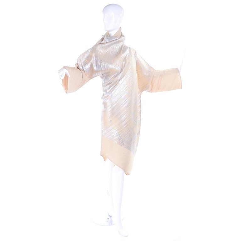 Beige Issey Miyake A/H 1994 Asymmetrical Pleated Dress Cream & Silver Metallic w/ Tags For Sale