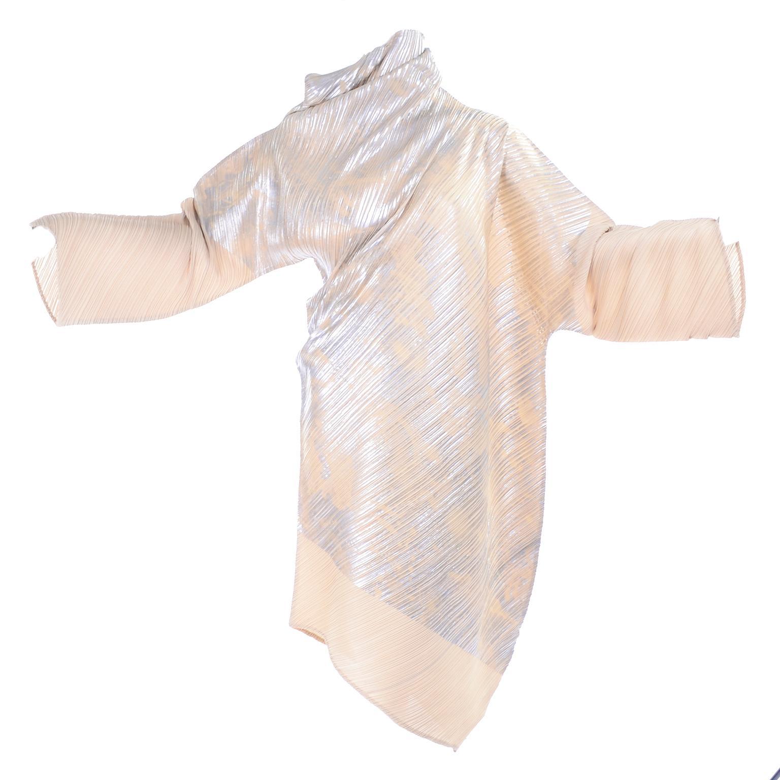 Issey Miyake A/H 1994 Asymmetrical Pleated Dress Cream & Silver Metallic w/ Tags