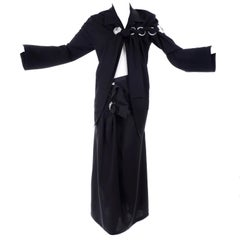 Yohji Yamamoto Avant Garde Black Skirt & Jacket W/ Grommets Spring 2004 Runway