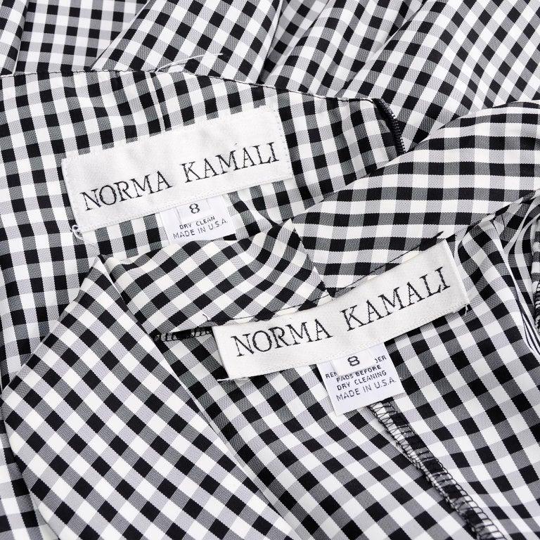 1980s Norma Kamali 2 Pc Victorian Dress in Black & White Checked Taffeta For Sale 3
