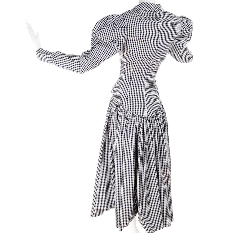 1980s Norma Kamali 2 Pc Victorian Dress in Black & White Checked Taffeta In Excellent Condition For Sale In Portland, OR