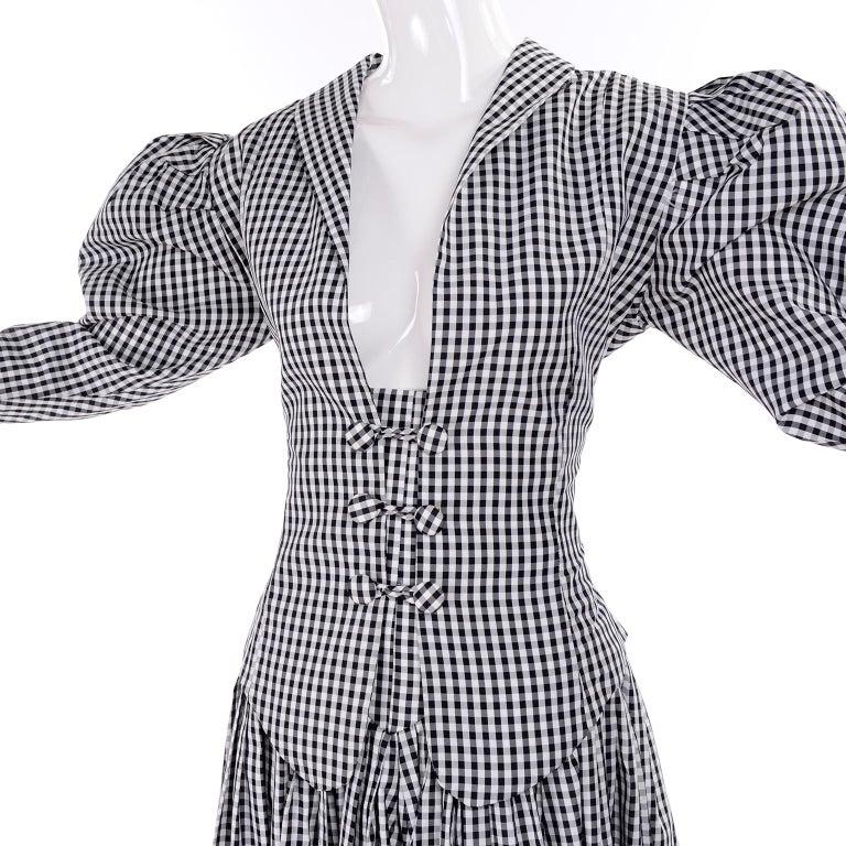 Women's 1980s Norma Kamali 2 Pc Victorian Dress in Black & White Checked Taffeta For Sale