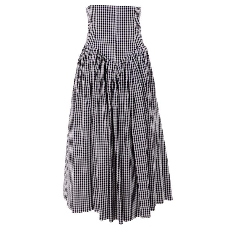 1980s Norma Kamali 2 Pc Victorian Dress in Black & White Checked Taffeta For Sale 1