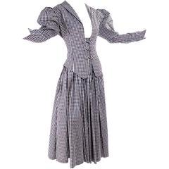 1980s Norma Kamali 2 Pc Victorian Dress in Black & White Checked Taffeta