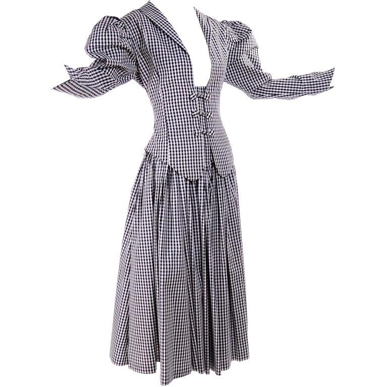 1980s Norma Kamali 2 Pc Victorian Dress in Black & White Checked Taffeta For Sale